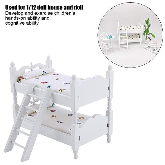 Miniature Children Bedroom Bunk Bed Dollhouse 1:12 Furniture Accessories A