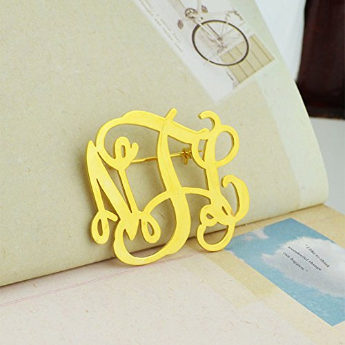 AOCHEE Name Brooch Personalized 3 Initial Brooch Custom Monogram Letter Pins Jewelry (Gold) by AOCHEE (Image #2)