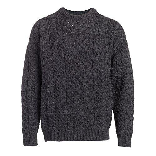 Boyne Valley Knitwear Mens Fisherman Aran Sweater (Charcoal, XXLarge)