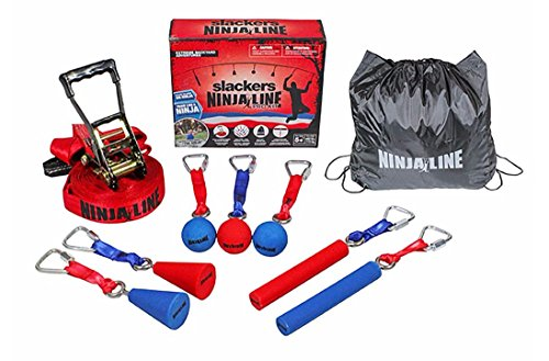 b4Adventure Slackers Ninjaline Pro Combo Kit with 7 obstacles Red/Blue, 30 Feet by Slackers (Image #2)