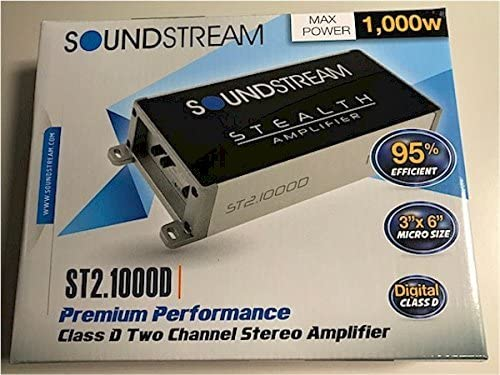Soundstream ST2.1000D Stealth Series 1000W Class D 2 Channel Amplifier