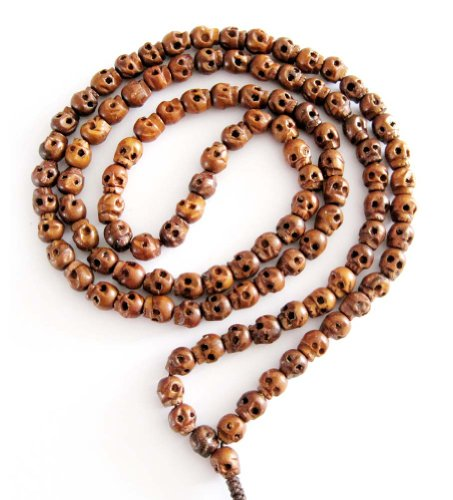 108 Carved Wood Skull Beads Buddhist Prayer Mala (Carved Wood Necklace)