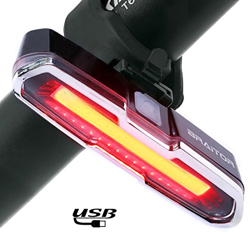 Rear Bicycle Flasher (BRAiTOR Ultra Bright Bike Tail Light, USB Rechargeable Bike Light, Waterproof LED Flashing Safety Rear Light for Cycling in Dark)