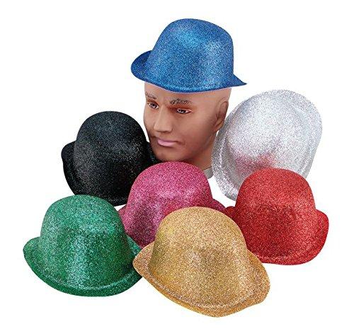 Bristol Novelty BH087 Glitter Plastic Bowler Hat, Gold, One Size