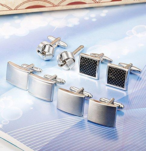 ORAZIO 4 Pairs Cufflinks for Men Cufflink Set for Tuxedo Shirts Business Wedding Silver Tone by ORAZIO (Image #3)