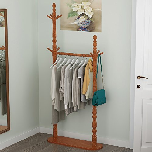 Tribesigns Solid Wood Clothing Garment Rack, Free Standing Coat Rack Stand with 10 Hooks and Hanging Rail for Bedroom, Living Room, (Freestanding Solid Wood)