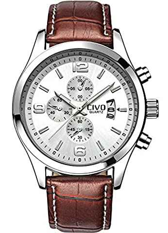 CIVO Men's White Decorative Dial Luxury Brown Leather Band Waterproof Simple Wrist Watch Business (Watch Waterproof Prime)