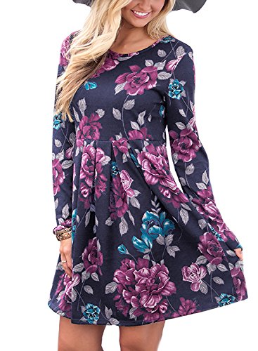ZESICA Women's Round Neck Floral Print Long Sleeve Swing Pleated T Shirt Tunic Dress -