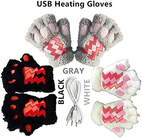 Kbinter USB 2.0 Powered Stripes Heating Pattern Knitting Wool Cute Heated Paw Gloves Fingerless Hands Warmer Mittens Laptop Computer Warm Gloves for Women Men Girls Boys 3 Pack (Black+Gray+White) / Kbinter USB 2.0 Powered Stripes H...