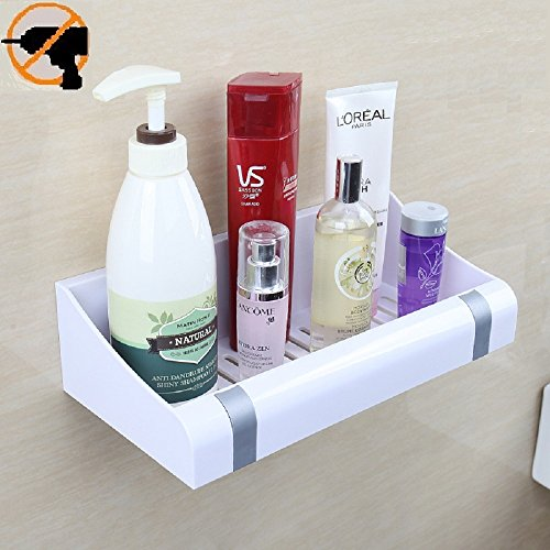 Fealkira Suction Cup Floating Bathroom Shelf Shower Rack ,Easy Installing For Kitchen/Shower & Living Room/Office(No Nails No Tools)