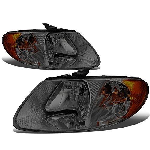 Pair Smoked Housing Amber Side Headlight Lamps for Chrysler Town&Country/Dodge Grand Caravan 01-07