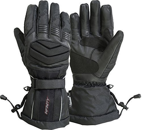 INFINITY wasserdicht Motorrad Handschuhe Leder Winter Textil, gepolsterter Schutz Plain Black M
