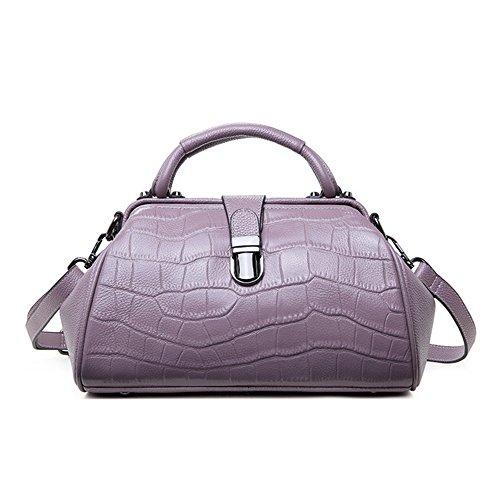 PINCHU Bolso De Mano Grande Retro De Lujo del Diseñador De Las Mujeres del Cuero Genuino De Trapeze De La Oficina,Purple Purple