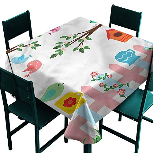- DONEECKL Square Tablecloth Birds Hanging Birdhouse Gardening Indoor Outdoor Camping Picnic W50 xL50