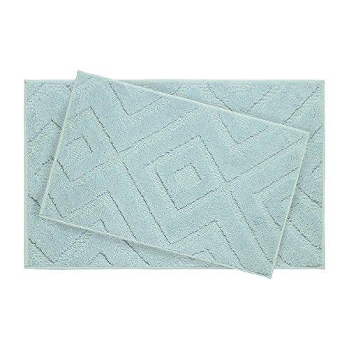"Jean Pierre Lilah Plush Micropolyester Textured Bath Mat Set, 21 x 34"", Aqua (2 Piece Set)"