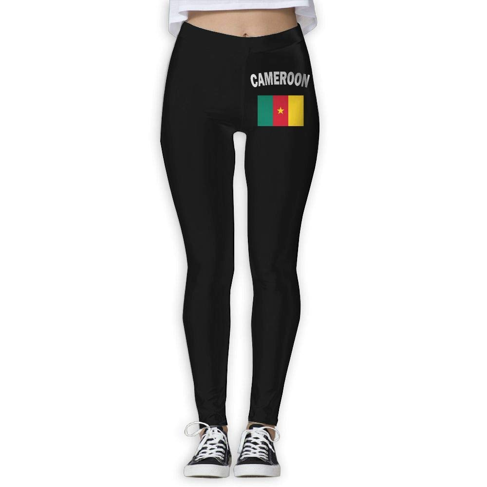 DDCYOGA Cameroon Flag-1 Womens High Waist Yoga Leggings Sport Workout Running Leggings For Girls