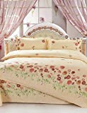 ZQ Fashion personality style Yellow Flowers Queen and Twin Size Sanding Bedding Sets 4pcs for Boys and Girls Bed Linen China Wholesale , twin