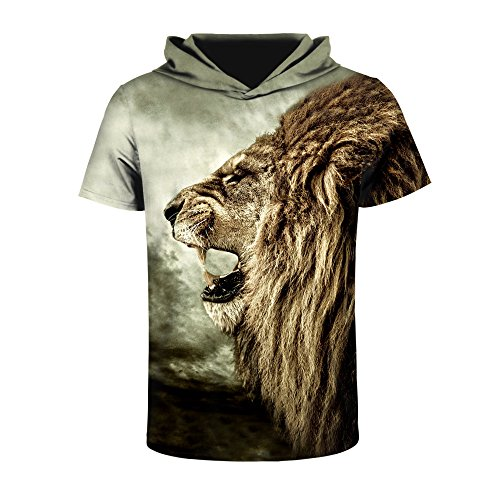 ISTider Mens Hooded T Shirt Digital Print Animal - Animal Print Mens Shirts