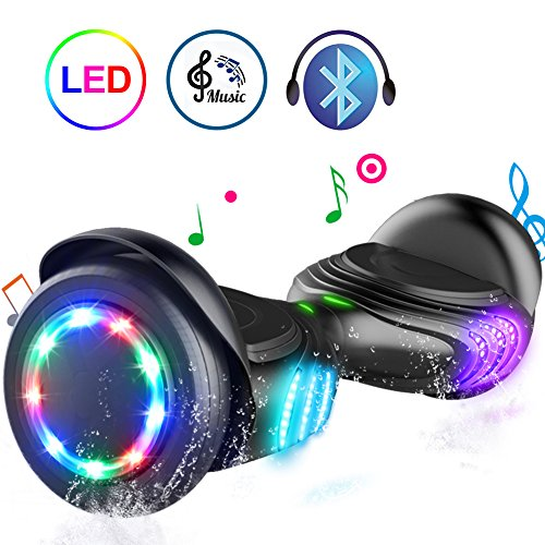 TOMOLOO Hoverboard with Bluetooth Speaker and Colorful LED Lights Self-Balancing Scooter UL2272 Certified 6.5″ Wheel for Adults and Child