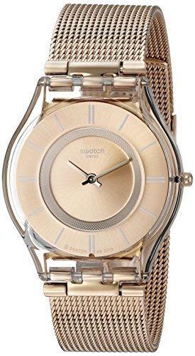 Swatch Women's SFP115M Skin Rose Gold-Tone Watch with Mesh Band ()