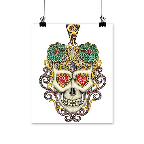 (Office DecorationsThe Dead Sugar Skull with Heart Pendants and Floral Jewelry Print White -Abstract Art Painting,20