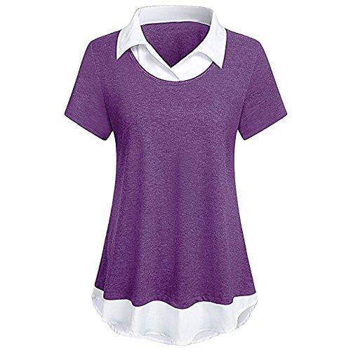 Lelli Women Fashion Shirt for Work Double Layered Short Sleeve Turn Down Collar Swing Dress Shirt Casual Blouse Tops (XL, (Charming Stripe Collar)