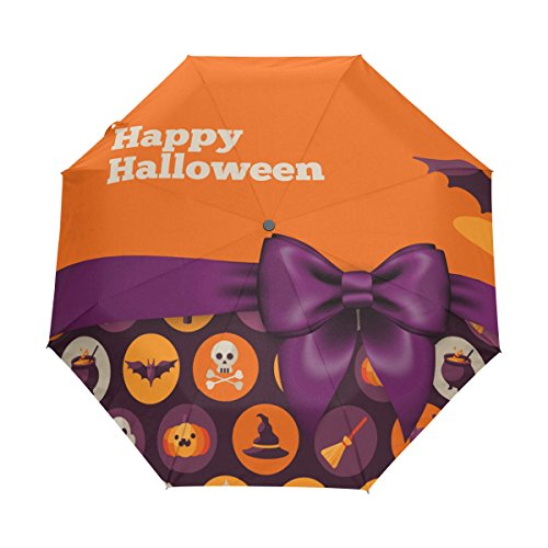 Happy Halloween UPF 50+ Anti-UV Parasol Waterproof Windproof 3 Folds Auto Open Close Lightweight Umbrella
