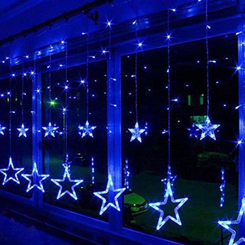 Zology LED Star Curtain String Light, 138 LED Fairy Hanging Strip Lamp Window Christmas Light for Bedroom Kids Room Wedding Party Hallowen Birthday Tree Supplies - Strip Light Hanging