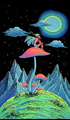 Psychedelic Tapestry 'Mushroom Fairy' - Hand-painted and silkscreen batik wall-hanging - UV active wall-hanging -Trippy wall art - Black light active trippy tapestry - Fantasy tapestry