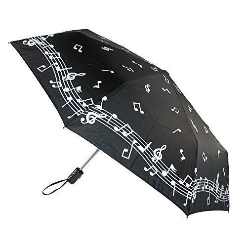 CTM Women's Auto Open and Close Color Changing Music Note Compact Umbrella (Note Umbrella)