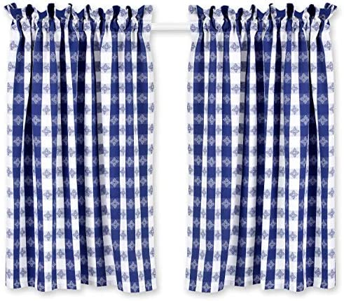 Cackleberry Home Blue and White Tavern Check Cafe Curtains Woven Cotton Jacquard 28 Inches W x 36 Inches L, Set of 2