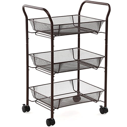 SONGMICS Rolling Storage Cart w' Large Baskets Utility Organizer Cart on Wheels for Kitchen Pantry Bathroom Dorm & Office Bronze UBSC71A (Small Cart With Handle compare prices)
