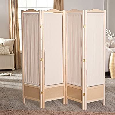 Brooks Canvas 4 Panel Room Divider - Natural