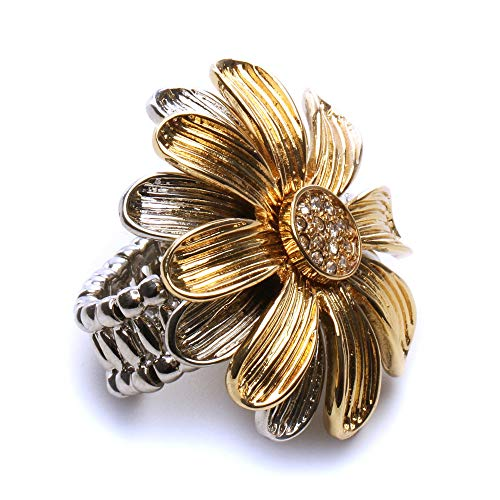 LookLove Womens Fashion JewelryGold and Silver Tone Flower Stretch - Stretch Daisy Ring