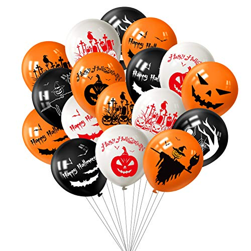 (TUPARKA 100Pcs Halloween Balloons Decorations, 12 Inch Pumpkin Spider Web Bat Scarecrow Tombstone Design Latex Balloons for Halloween Decorations Party)