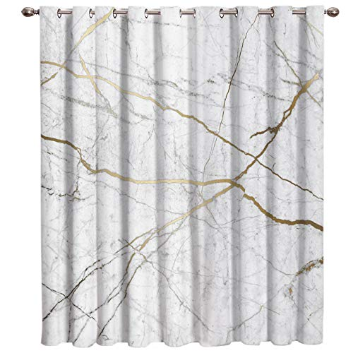 Crystal Emotion Gold Cracked Line Marble Thermal Insulated Blackout Curtains/Drapes (1 Panel) White 52