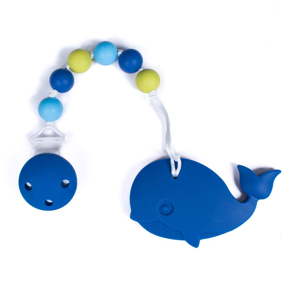 Whale Navy Blue, Light Blue, Chartreuse Gumeez Teething Toy with Beaded Pacifier Clip Multi-Colored and Multi-Surfaced
