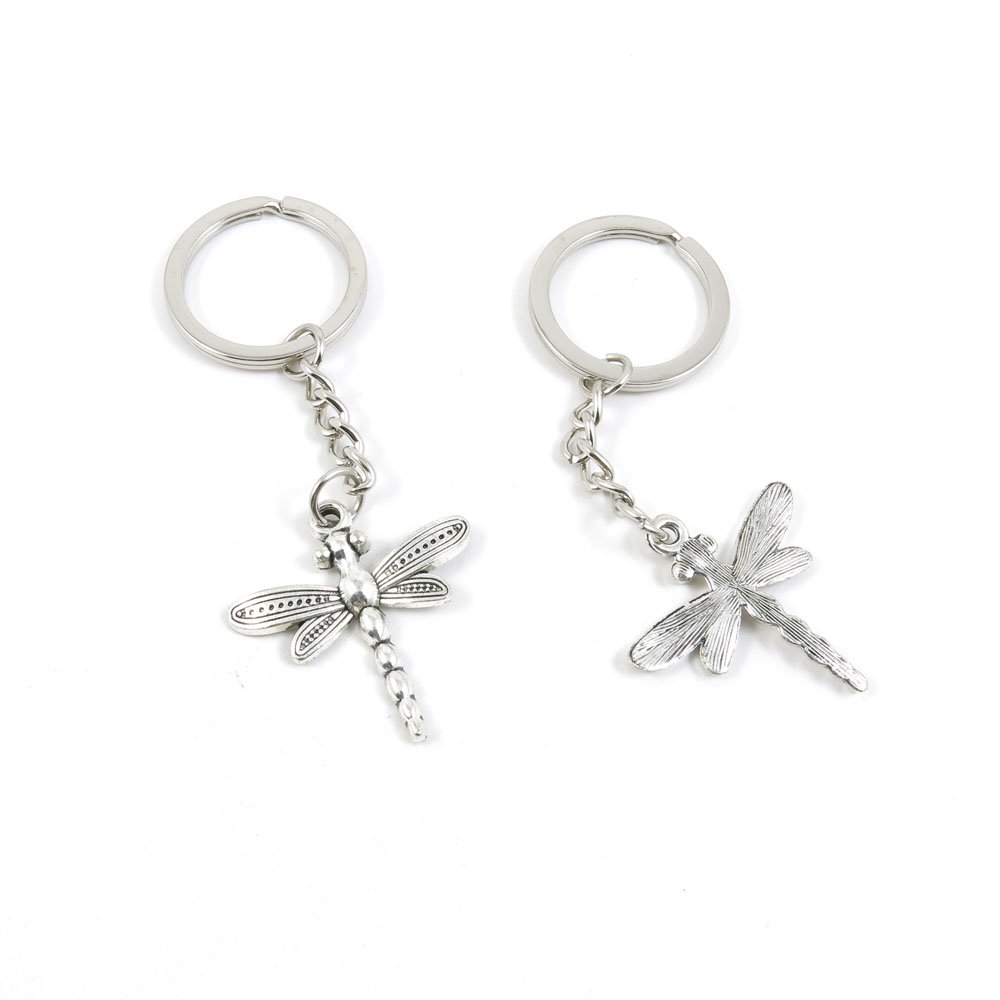 100 Pieces Keychain Door Car Key Chain Tags Keyring Ring Chain Keychain Supplies Antique Silver Tone Wholesale Bulk Lots P6GX9 Dragonfly