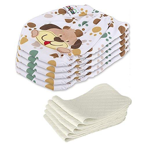 5 Stück Wiederverwendbare Waschbare Verstellbar Babywindeln Baby Windelhose Baby-Tuch-Windel Weicher Stoff Größe Verstellbar (Hund)