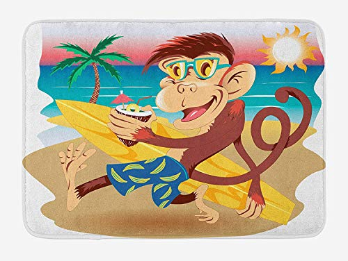 Sunny Kids Bathroom - Tropical Animals Bath Mat, Hipster Monkey with Surfboard and Glasses Drinking on Beach in Sunny Day Kids, Plush Bathroom Decor Mat with Non Slip Backing, 23.6 W X 15.7 W Inches, Multi