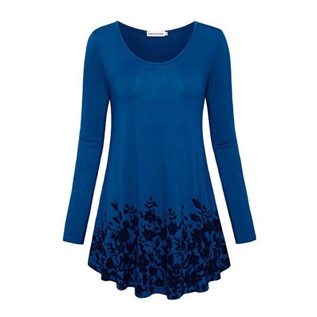 VZEXA Tunic Tops Women Autumn Border Print Long Sleeve O-Neck Street Blouse Blue by VZEXA