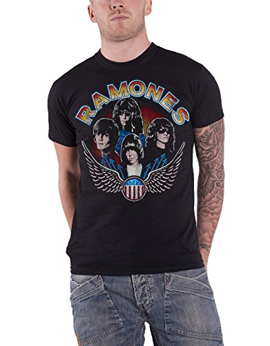 Ramones T-shirts Band - Ramones T Shirt Vintage Wings Band Logo Vintage Official Mens Black