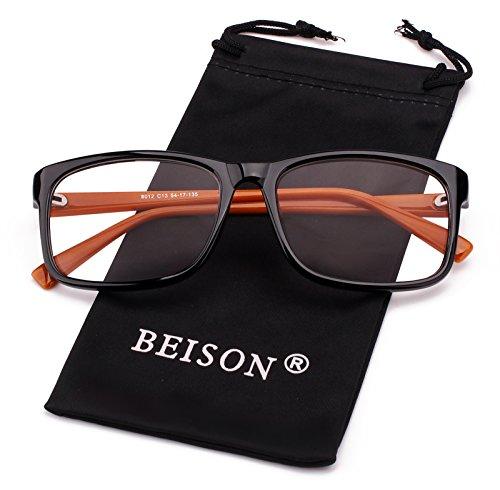 Beison Womens Mens Wayfarer Glasses Frame Nerd Eyeglasses Clear Lens (Black / Brown, - Only Lenses Eyeglass