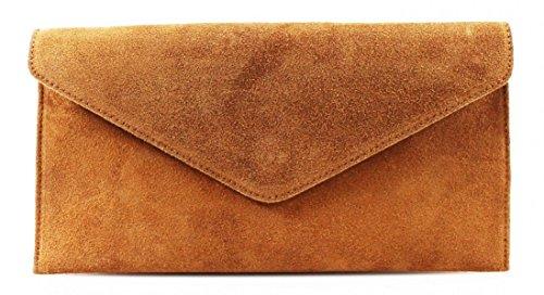 bag Large bag Clutch Shaped Suede Tan Party bag Underarm Leather bag bag bag Genuine Suede Italian Evening Verapelle Genuine Shoulder Envelope bag Wrist r7qn4w6r
