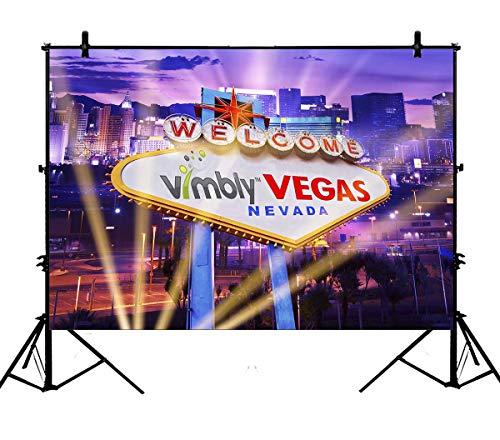7x5ft Classical Sign Welcome Las Vegas City Night Spotlight Party Banner PolyesterPhotographyBackdropPhotographyPropsStudioPhotoBoothProps ()