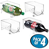 mDesign Large Plastic Stackable Kitchen Bin Storage Organizer Rack for Pop/Soda Bottles for Refrigerator, Pantry, Countertops and Cabinets - Holds 2-Liter Bottles - BPA Free, Pack of 4, Clear