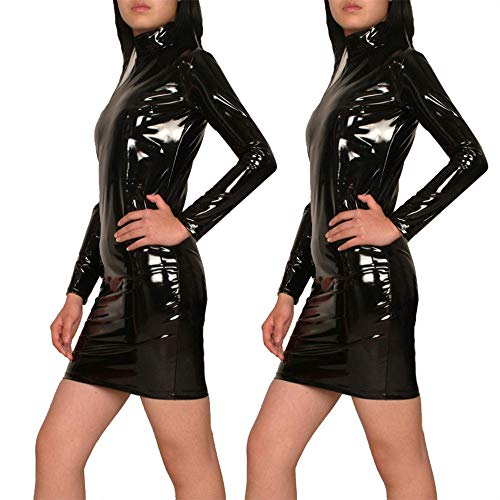 Damen Wetlook Kleid Elegant Halloween Abendkleider PVC GYH Kunstleder Langarm dSfCpSW