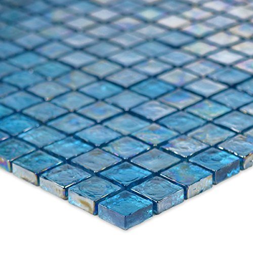 Turquoise Textured Iridescent Glass Tile Blend 1'' x 1''