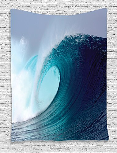 Ambesonne Ocean Decor Collection, Tropical Surfing Wave on a Windy Sea Indonesia Sumatra Picture Print, Bedroom Living Kids Girls Boys Room Dorm Accessories Wall Hanging Tapestry, Blue Aqua White (Beach Room Themed Ideas Dining)