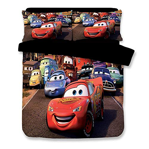 JJ YY 3D Bedding with Disney Cars, Kids Favorite Duvet Cover 3PCS Bed Set, 1 Duvet Cover and 2 Pillow Cases Have Twin, Full, Queen, King Size